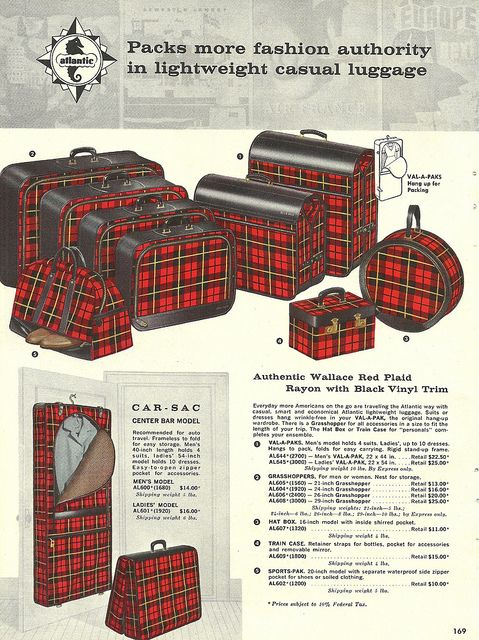 1950s catalog page for Atlantic Wallace Red Plaid luggage. #vintage #1950s #travel #suitcases