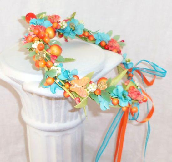 Bridal Hair Wreath Flower girl hair accessories hair by 3Mimis, $34.00