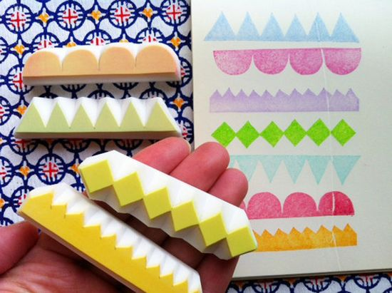 GEOMETRIC hand carved rubber stamp handmade by talktothesun