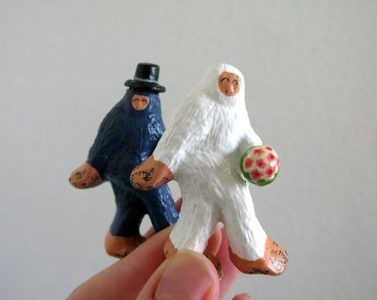 Wedding Cake Toppers - Small Super Fancy Bigfoot and The Abominable Snowman Tie the Knot. $22.00, via Etsy.