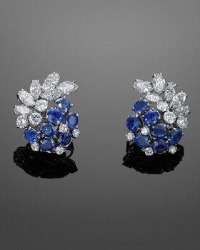 Sapphire and Diamond Cluster Earrings by Boucheron London, circa 1950s