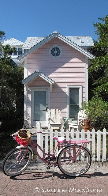 Pink Cottage, Pink Bicycle #living room design #home interior design 2012 #home decorating