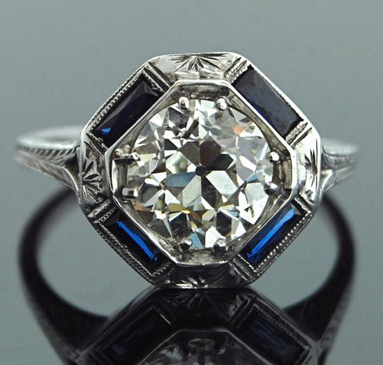Antique Engagement Ring - 18k White Gold with 2 ct European Cut Diamond