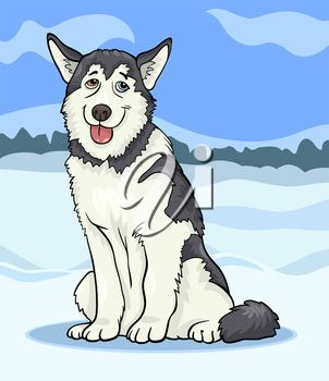iCLIPART - Cartoon Clip Art Illustration of a Funny Siberian Husky or Alaskan Malamute Dog against Blue Sky and Winter Rural Scene #clipart #illustration #animals