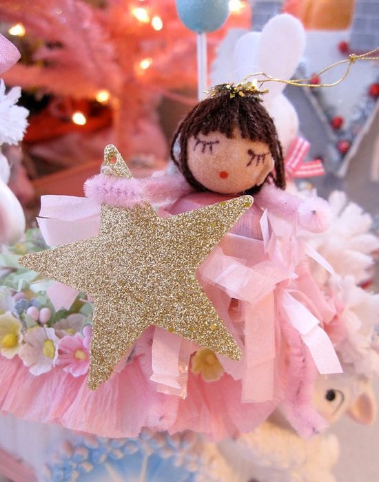 Saturdayfinds Hand made Pink Angel Ornament