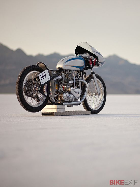 There's something strangely compelling about motorcycles built solely to race down the Bonneville salt flats. Stripped of all fripperies, they're designed to operate in a hostile environment that tests both man and machine. This Triumph 6T was built by Dick Smith of The Baron's Speed Shop in the UK, and it has that odd beauty in spades. Photographer Gary Magerum captured it at rest after it grabbed the record in the Pushrod/Fuel/Special construction class.