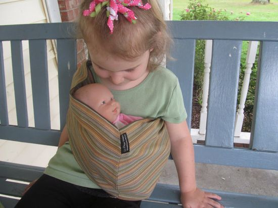 Doll Sling  Children's Toy Pouch  olive by lilpeeperkeepers, $15.00 for my little mama when baby #2 arrives!