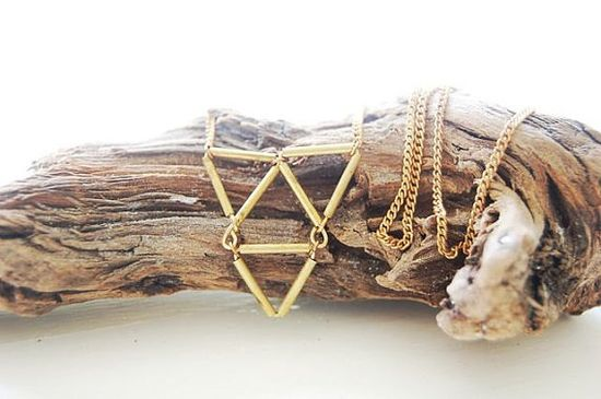 Brass Triangle Triforce Necklace by michellestarbuck