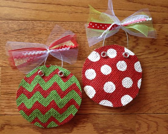 Painted Burlap Ornaments, Personalized on Etsy, $15.00