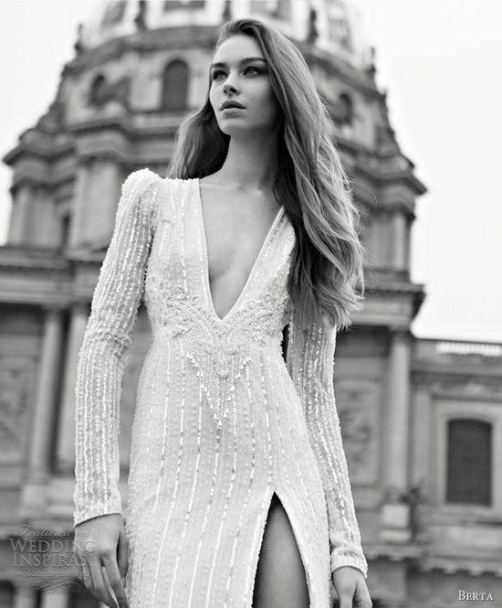 berta wedding dresses 2013 long puff sleeve