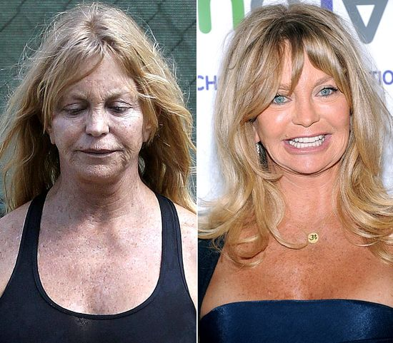 Goldie Hawn  On left: overseeing the construction of her new home in L.A. on Oct. 11, 2012  On right: attending the Turnaround for Children's 3rd Annual Impact Awards Benefit Dinner in New York City on Apr. 18, 2012