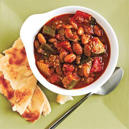 Quinoa and Roasted Pepper Chili Recipe by cookinglight via myrecipes M#Chili #Quinoa #Veggie #cookinglight