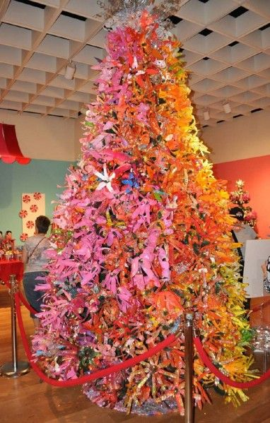 Recycled plastic water bottle flower Christmas Tree - fabulous