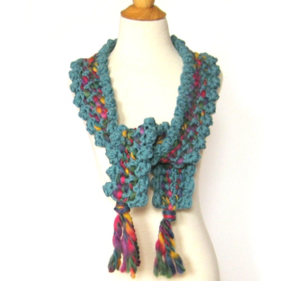 Chunky Woven Crochet Scarf Wrap / Ecofriendly Teal Wool Bobbles and Tassels.