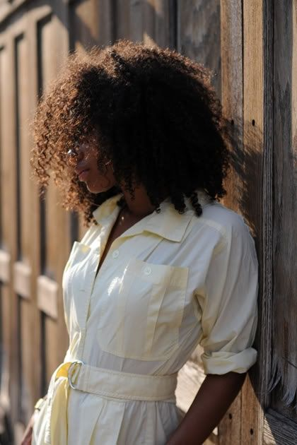 #naturalhair + off-white shirt dress