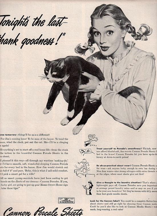 vintage pinup black cat 1945 advertisement