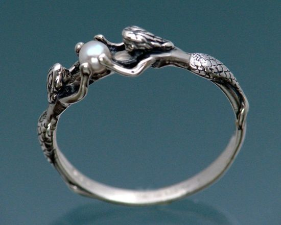 Two Mermaids Ring with Pearl by SheppardHillDesigns on Etsy, $45.00