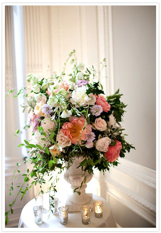 Floral Arrangements of Pinks, Peaches, and Violets