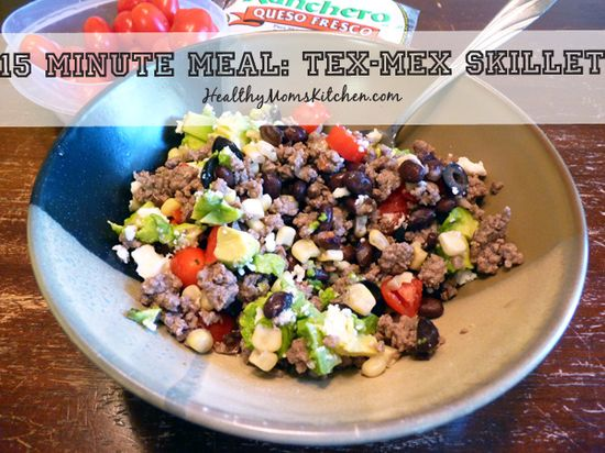 Tex-Mex Skillet:  This super easy, fast, healthy dinner is a lifesaver during summertime!  I always keep ground beef thawed in the fridge for quick meals like this one.  healthymomskitche... #healthy #recipe