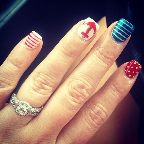 thenikkiwatson's festive tips. Show us your 4th of July-inspired nails! Tag your pic #SephoraNailspotting to be featured on our social sites.#sephora #nails