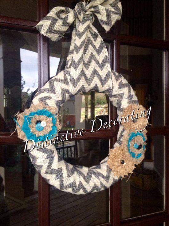 chevron burlap wreath with handmade flowers