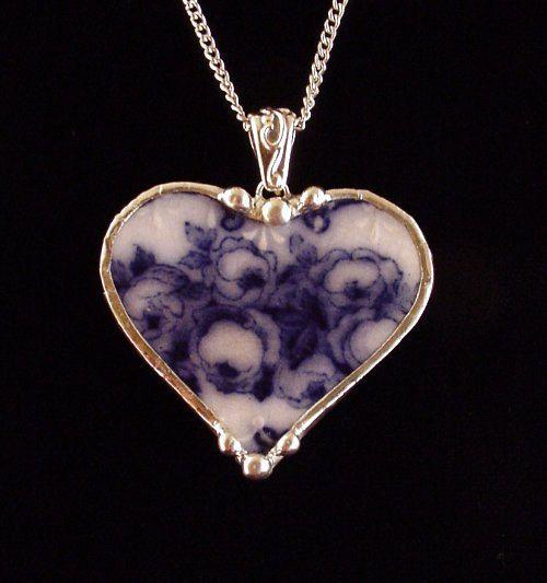 Broken china heart pendant