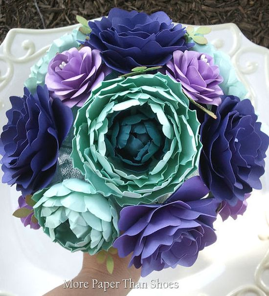 Handmade Paper Flowers Wedding Bouquet by morepaperthanshoes
