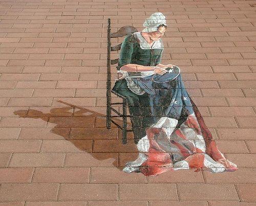 Betsy Ross 3D pavement art by Douglas Rouse.  www.rouse66.com