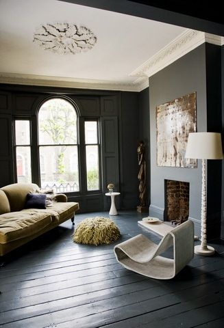 Charcoal window, walls and floor