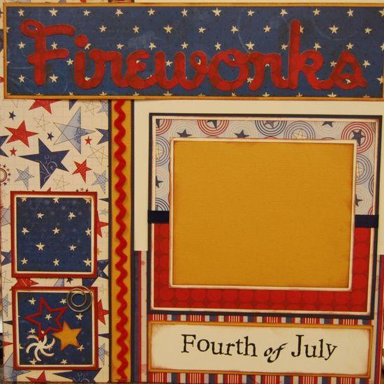 Patriotic scrapbook layout great use of Creative Memories star paper
