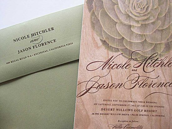 Real Wood Wedding Invitations Succulent Invitation