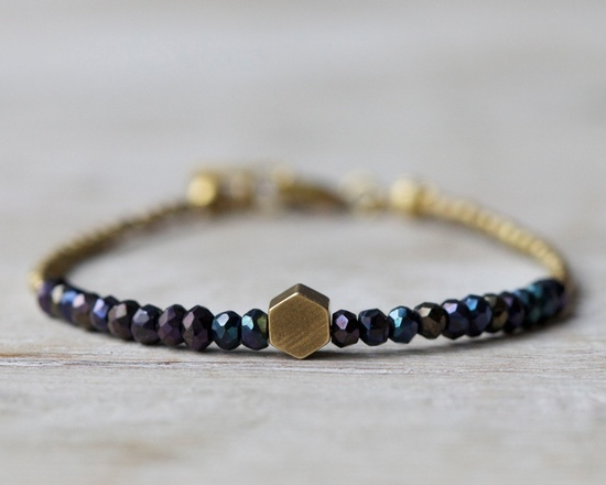 Brass hexagon bracelet: mystic black spinel beaded bracelet. Brass & beads collection.. $24.00, via Etsy.