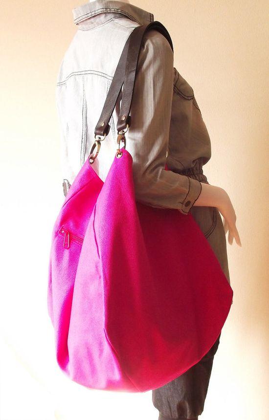 Hot pink canvas bag / shoulder bag / tote / handbag / Joy $45