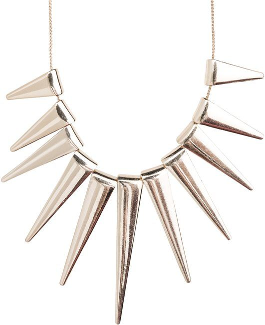 Gold Spiked statement necklace. www.swell.com/...