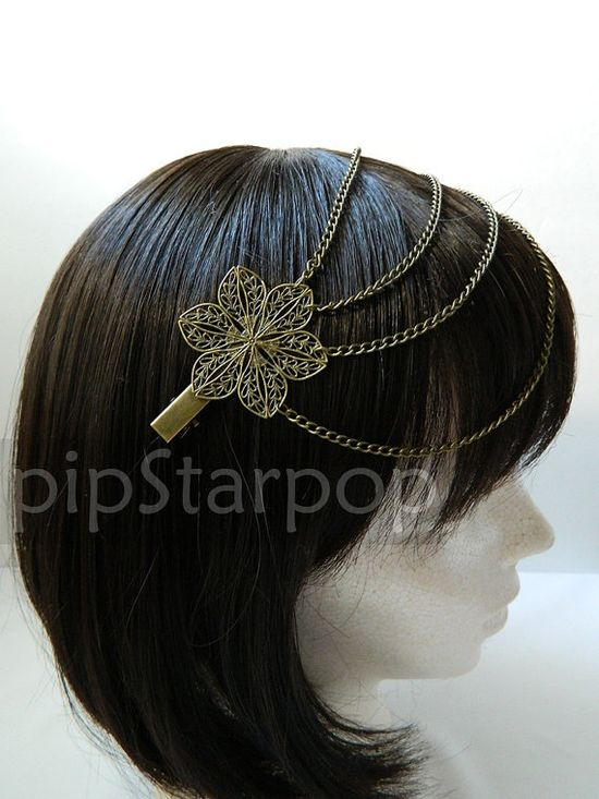 Bronze hair chain on two hair clips Boho Gypsy style Hair Chain - Medieval Gothic Headdress on Etsy, $18.00