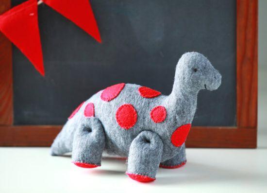 Handmade Grey Brontosaurus Dinosaur with Red Polka Dots Soft Toy