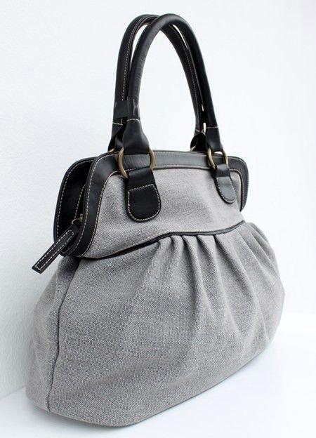 Soft Gray Color Sackcloth Handbag by CrazyBoy on Etsy, $45.00