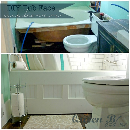 tub face makeover. This paneling would be pretty in a number of applications: office, entryway, mudroom, etc.