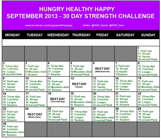 30 Day Strength Challenge from Hungry Healthy Happy