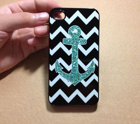 iPhone 5 Case, iPhone 4 Case,iPhone 4s case, iPhone Case, iPhone hard Case,Anchor  combination image design ( NOT ACTUAL GLITTER )