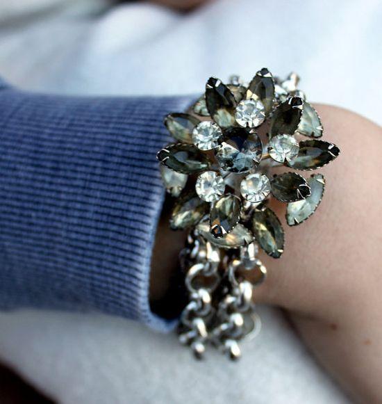 Vintage Smoky Rhinestone Bracelet!