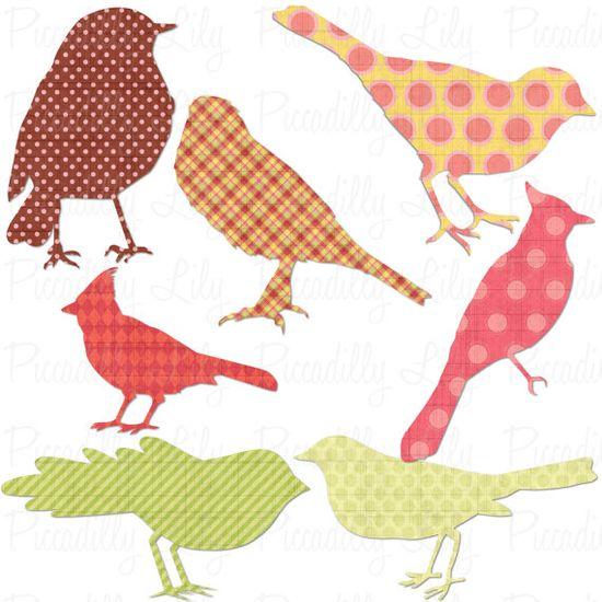 Digital printable bird shapes