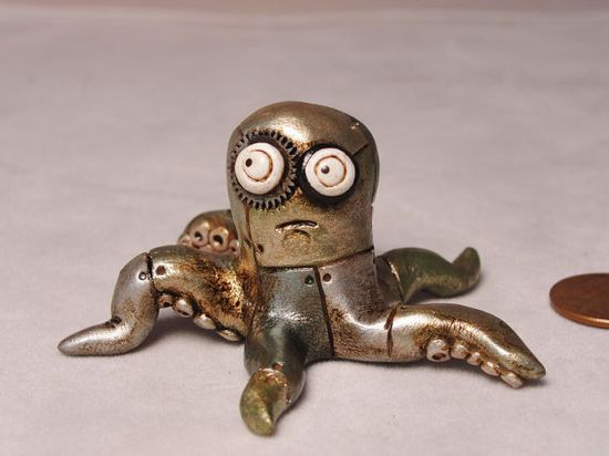 Miniature Steampunk Octopus original art signed by JanellBerryman, $65.00