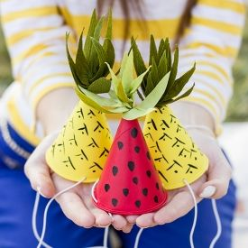 Make these fun fruit-inspired party hats for summer parties and picnics!