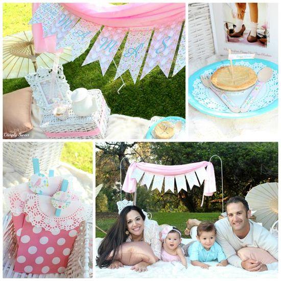 Shabby chic picnic party with way cute ideas! Via Kara's Party Ideas KarasPartyIdeas.com