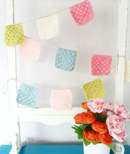 Crochet Bunting Garland Banner in Granny Square Pastels