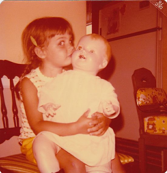 vintage photo girl  w/ doll