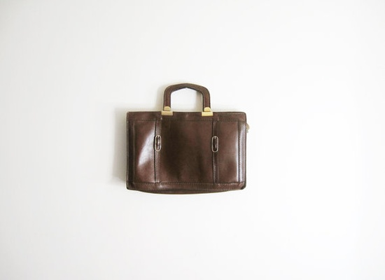 vintage  brown leather portfolio ipad bag