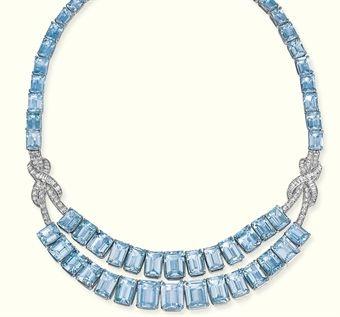 Aquamarine and Diamond Necklace.