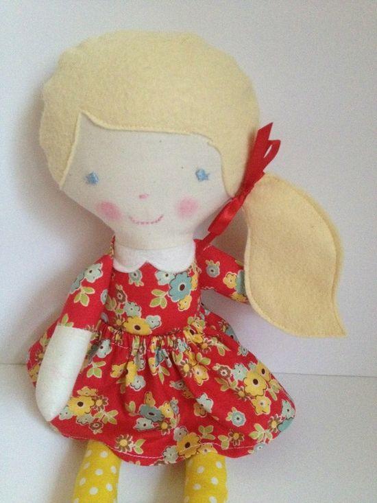 Fabric doll eco friendly doll handmade toy gift by babydearest, $37.00